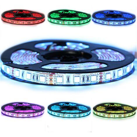 Kit Ruban Professionnel 5050 - 60 leds/m - 1m, 2.5m, 5 ou 10 mètres au choix - RGB anti-éclaboussure (IP65)