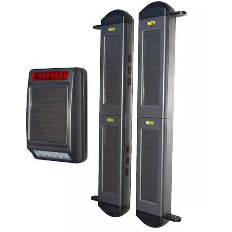 Kit sans-fil autonome longue distance périmétrique - Barrières infrarouges 2B + sirène ou carillon solaire (gamme FX)