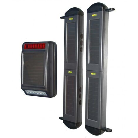 Kit sans-fil autonome longue distance protection périmétrique - Barrières infrarouges 2B + sirène solaire (gamme FX)