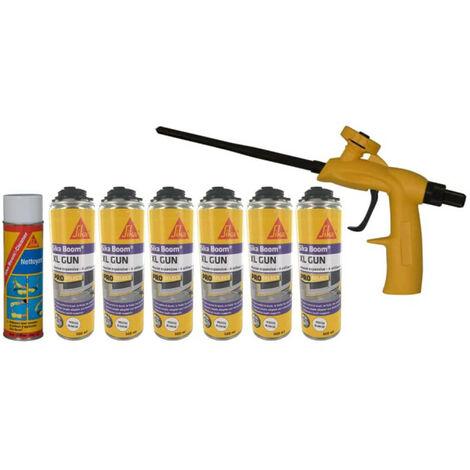 Kit SIKA mousse polyuréthane expansive 500ml x6 - Nettoyant 500ml - Pistolet Foam Gun - Blanc