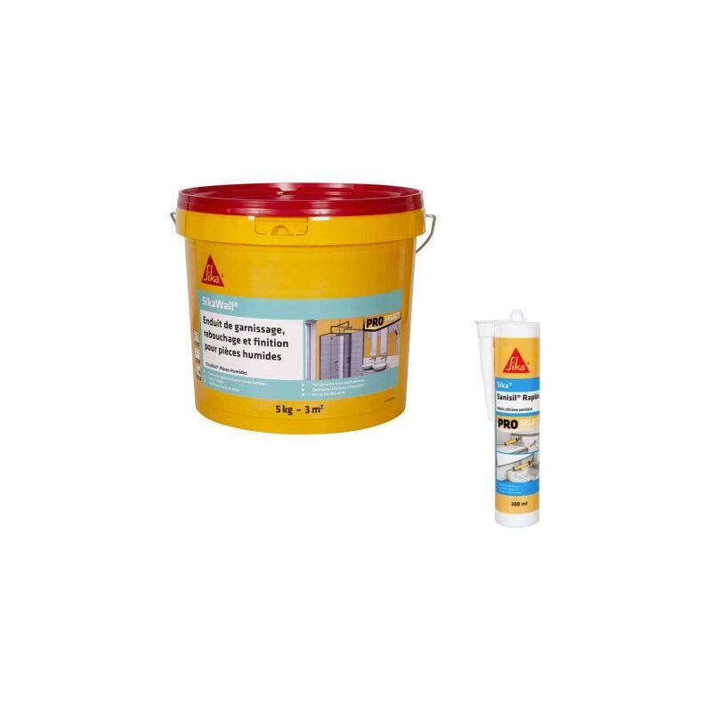 Kit rénovation salle de bain Wall Rebouchage- 5Kg - Mastic Sanisil 300ml - Blanc - Sika