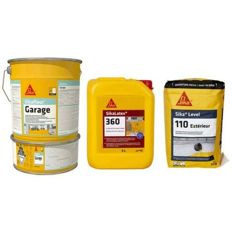Kit SIKA sol garage 20m² - Peinture Sikafloor 6kg - Résine SikaLatex 360 - 5L - Ragréage Level-110 extérieur - Auto-nivelant - 25 Kg