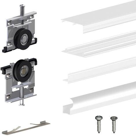 Kit SLID'UP 220 aluminium blanc pour 3 portes de placard coulissantes 18 mm - rail 2,7 m - 70 kg