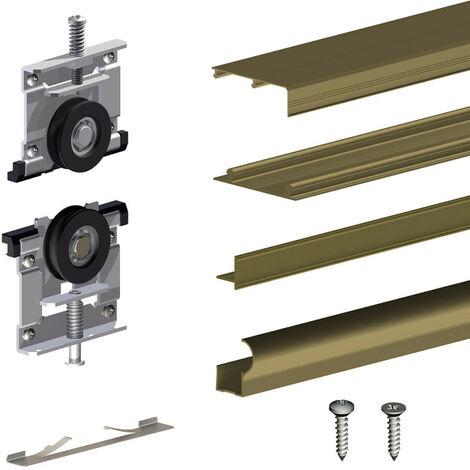 Kit SLID'UP 230 aluminium anodisé bronze pour 2 portes de placard coulissantes 19 mm - rail 1,8 m - 70 kg - Bronze