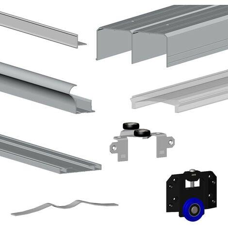 Kit SLID'UP 280 aluminium anodisé argent pour 2 portes de placard coulissantes 18 mm - rail 2 m - 50 kg - Argent