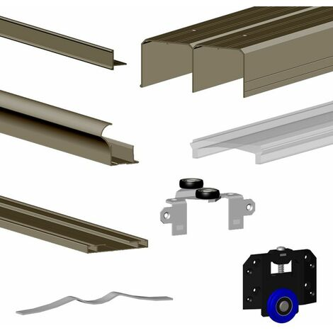 Kit SLID'UP 280 aluminium anodisé bronze pour 2 portes de placard coulissantes 18 mm - rail 2 m - 50 kg - Bronze