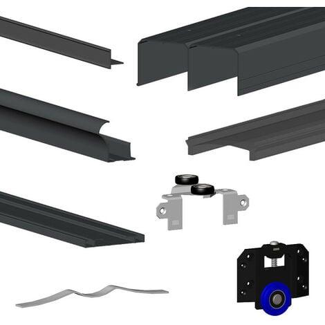 Kit SLID'UP 280 aluminium anodisé noir pour 2 portes de placard coulissantes 18 mm - rail 2 m - 50 kg - Noir