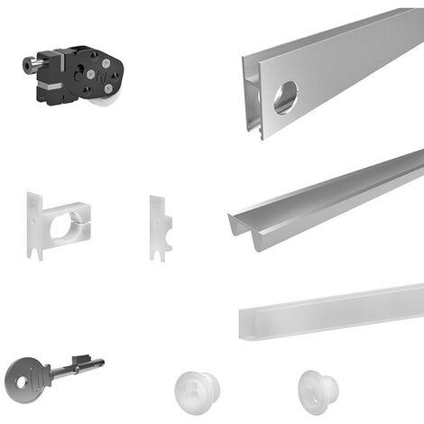 Kit SLID'UP 290 aluminium anodisé argent pour 2 portes de vitrine avec serrure - 1 x 1,2 m - Argent