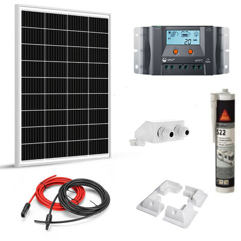 Kit solaire 100w 12v camping car-caravane-bateau MPPT