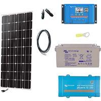Kit solaire 100w autonome mono + convertisseur 230v