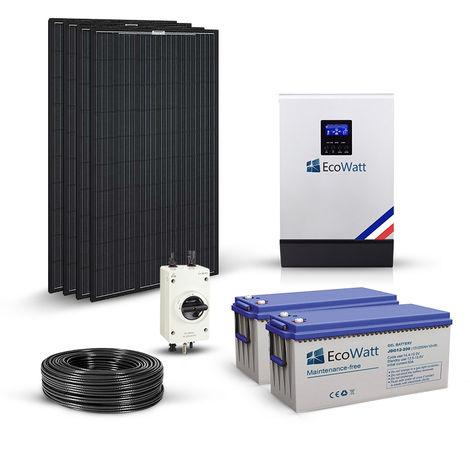 Kit solaire 1240w autonome hybride 24v-230v-stockage 3600wh