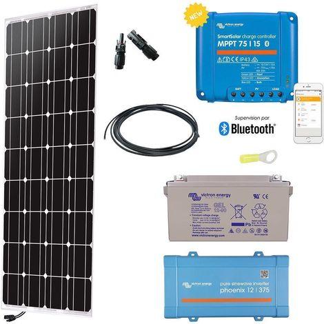Kit solaire 150w autonome mono + convertisseur 230v