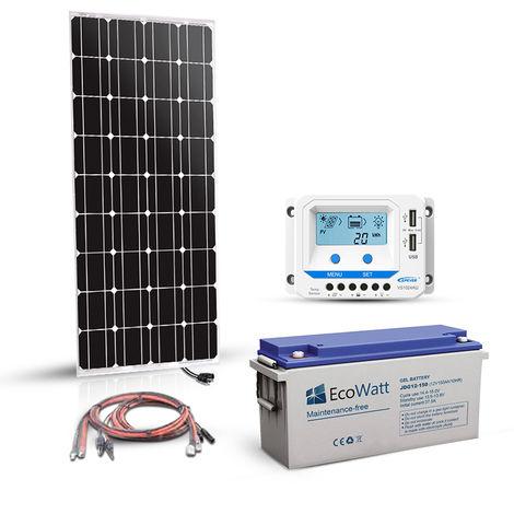 Kit solaire 180w 12v autonome-stockage batterie 1.2kw