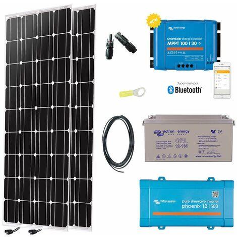 Kit solaire 2 x 150w autonome 12v mono + convertisseur 230v/500va