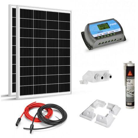 Kit solaire 200w (100w x 2) 12v camping car-caravane-bateau
