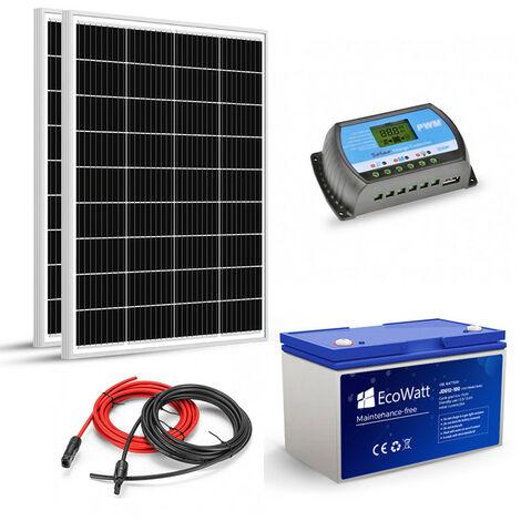 Kit solaire 200w (100w x 2)12v autonome-stockage batterie 1.2kw