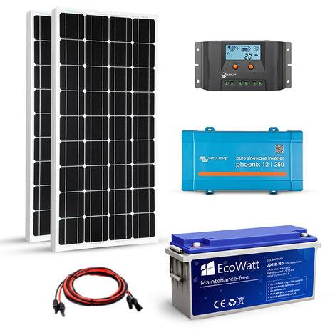 Kit solaire 200w autonome 12v-230v 500VA stockage 1200wh - VICTRON ENERGY