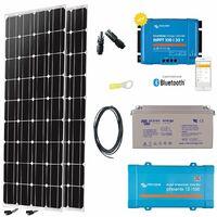 Kit solaire 2x150w autonome 12v mono + convertisseur 230v/500va