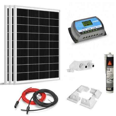 Kit solaire 300w (100w x 3) 12v camping car-caravane-bateau