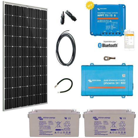 Kit solaire 305w premium autonome + convertisseur 230v/800va