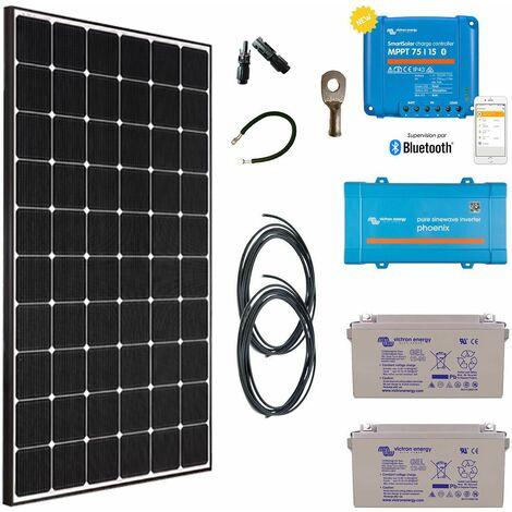 Kit solaire 355w autonome + convertisseur 230v/500va