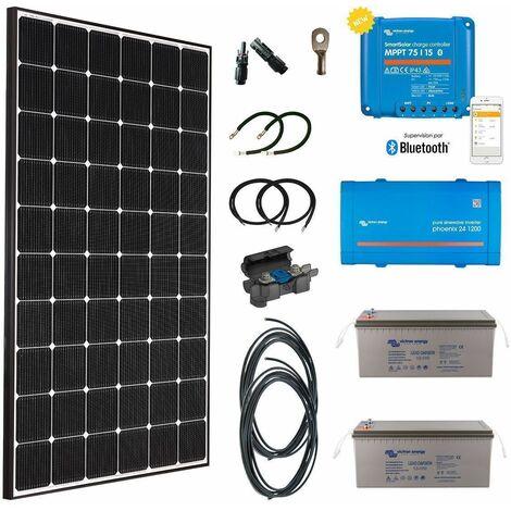 Kit solaire 355w premium plus autonome + convertisseur 230v/1200va
