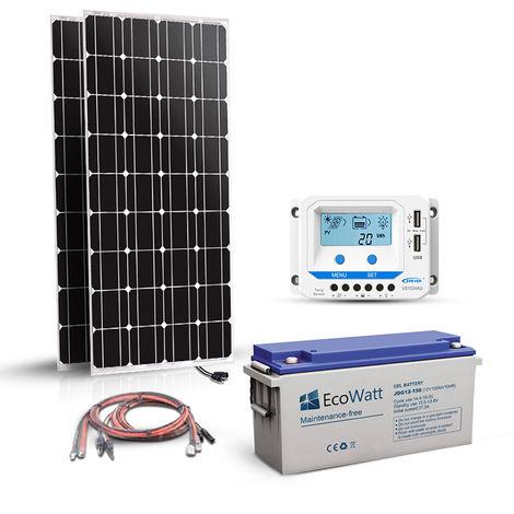 Kit solaire 360w (180w x 2) 12v autonome-stockage batterie 1.8kw