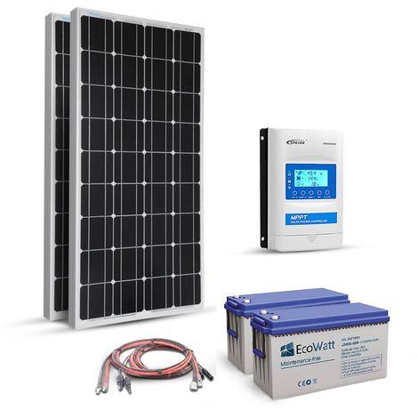 Kit solaire 360w (180w x 2) 12v autonome-stockage batterie 1.8kw-Mppt Boost