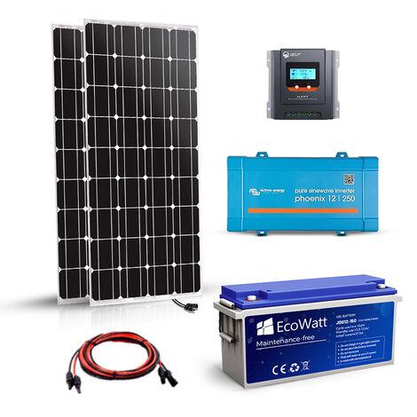 Kit solaire 360w autonome 12v-230v 500VA stockage 2400wh