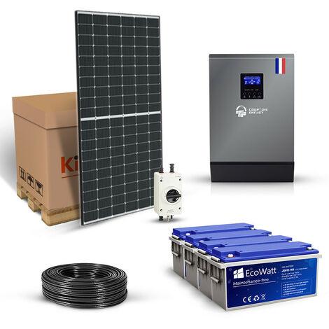 Kit solaire 4140w autonome hybride 5kw 48v-230v stockage 9600wh