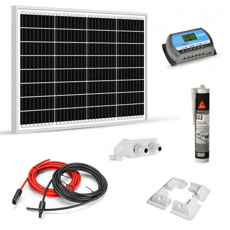 Kit solaire 50w 12v camping car-caravane-bateau