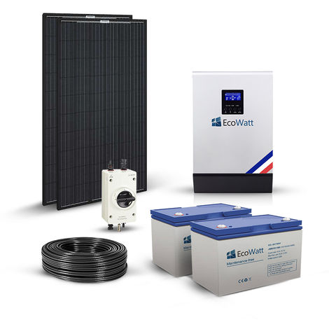 Kit solaire 620w 3KVA MPPT autonome hybride 24v-230v-stockage 2400wh
