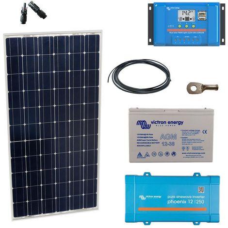 Kit solaire 90w autonome mono + convertisseur 230v