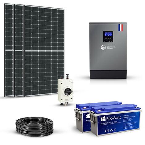 Kit solaire 930w autonome hybride 24v-230v-stockage 3600wh