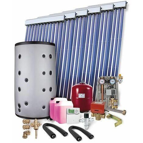 Kit solaire pour ECS et chauffage 12,30 m² surface de collecteurs brute 1 echangeur et ballon tampon 800L