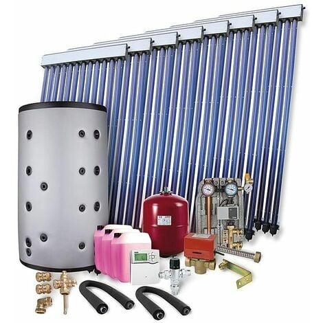 Kit solaire pour ECS et chauffage 16,40 m² surface de collecteurs brute 2 echangeurs et ballon tampon 1000L