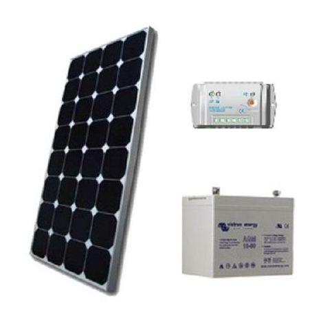 Kit solaire SITE ISOLE 100Wc - 12V (Capacité Batterie : Kit avec 1 batterie Gel 90 Ah)