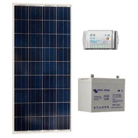 Kit solaire SITE ISOLE 100Wc 60AH Polycristallin - 12V (Capacité Batterie : Kit avec 1 batterie Gel 90 Ah)