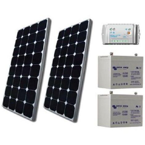 Kit solaire SITE ISOLE 160Wc - 12V (Capacité Batterie : Kit avec 2 batteries Gel 90 Ah )