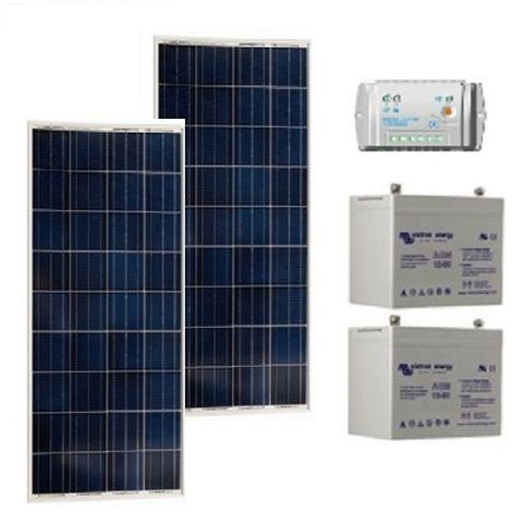 Kit solaire SITE ISOLE 160Wc Polycristallin - 12V (Capacité Batterie : Kit avec 2 batteries Gel 90 Ah )