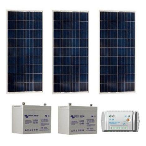 Kit solaire SITE ISOLE 270Wc Polycristallin - 12V (Capacité Batterie : Kit avec 2 batteries Gel 90 Ah )