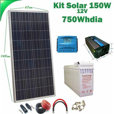 Kit Solar 12v 150w Hora Inversor 1000w AGM TF-150AH