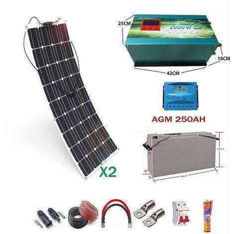 Kit solar 12v Panel Solar Flexible 150W Inversor 1000w con Cargador 25A dos paneles con bateria AGM 250ah