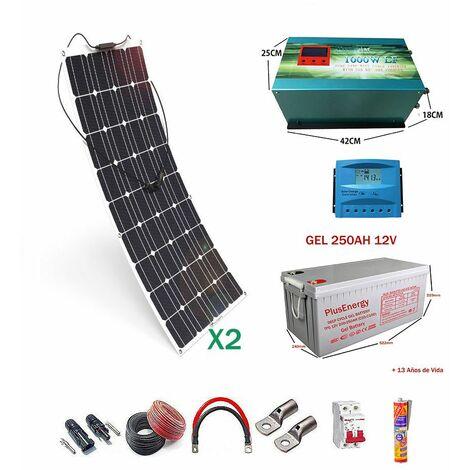 Kit solar 12v Panel Solar Flexible 150W Inversor 1000w con Cargador 25A dos paneles con bateria Gel 250ah