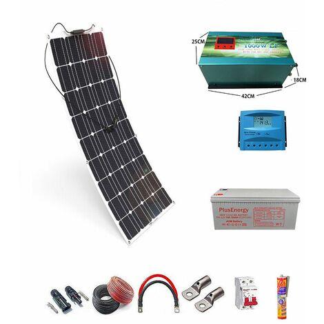 Kit solar 12v Panel Solar Flexible 150W Inversor 1000w con Cargador 25A un panel con bateria AGM 150ah
