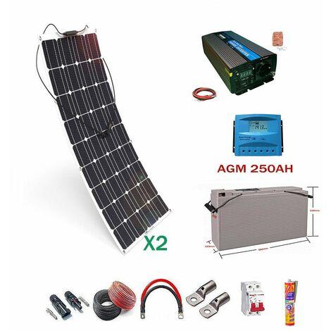 Kit solar 12v Panel Solar Flexible 150W Inversor con mando 1000w dos paneles con bateria AGM 250ah