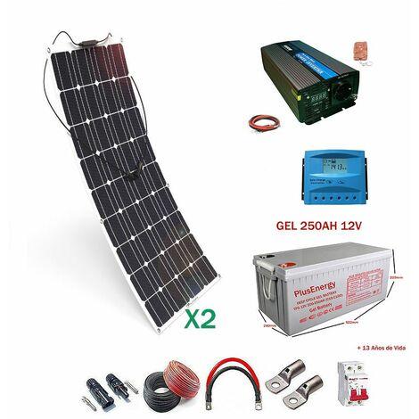 Kit solar 12v Panel Solar Flexible 150W Inversor con mando 1000w dos paneles con bateria Gel 250ah