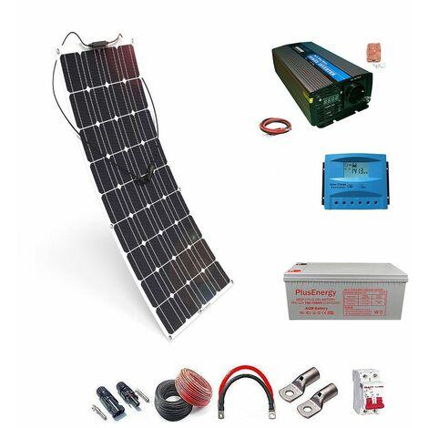 Kit solar 12v Panel Solar Flexible 150W Inversor con mando 1000w un panel con bateria AGM 150ah