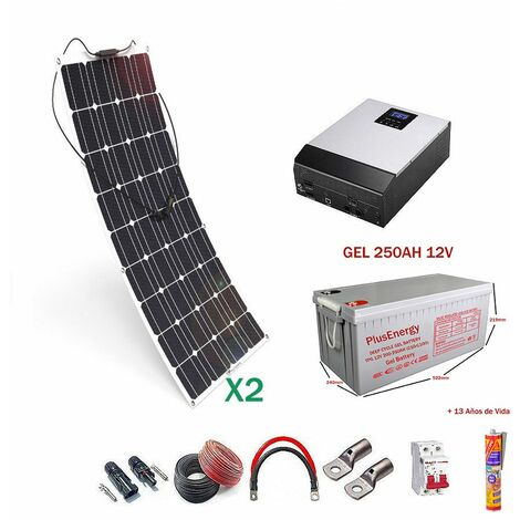 Kit solar 12v Panel Solar Flexible 150W Inversor Multifuncion 1000VA dos paneles con bateria Gel 250ah