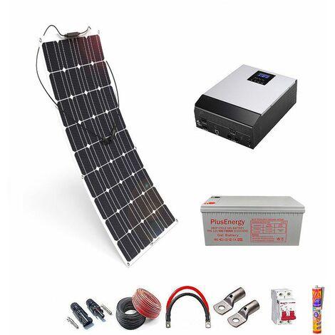Kit solar 12v Panel Solar Flexible 150W Inversor Multifuncion 1000VA un panel con bateria AGM 150ah